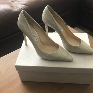 Jimmy Choo 100mm Romy Platinum Ice Glitter Pump